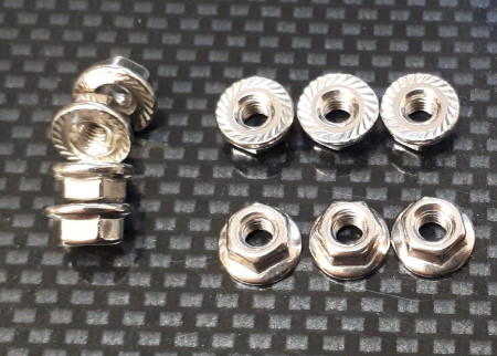 M3 Hex Nuts with Serrated Flange Washer Pk10